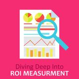 ROI Measurement. Return on of investment.. Documents with graphs and calculations, and magnifying glass. Vector flat illustration Stock Photos