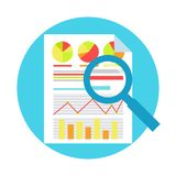 ROI Measurment. Return on of investment. Documents with graphs and calculations, and magnifying glass. Vector flat illustration Royalty Free Stock Photo