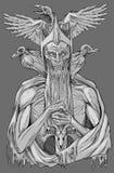 Roi mort avec des oiseaux illustration stock