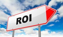 ROI no sinal de estrada vermelho ilustração royalty free