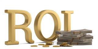 ROI och dollar som isoleras på den vita illustrationen för bakgrund 3D stock illustrationer