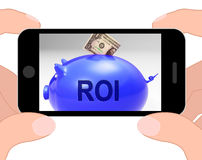 ROI Piggy Bank Displays Investors Return And Income Royalty Free Stock Images