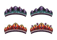 Roi réglé de vecteur de couronne, reine, prince, princesse illustration de vecteur