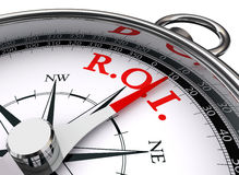 Roi red word on concept compass. Symbol return on investment on white background Royalty Free Stock Images
