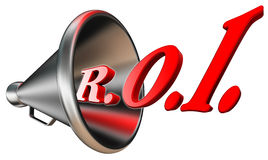 Roi red word in megaphone. Return on investment concept  on white background. clipping path included Stock Photo