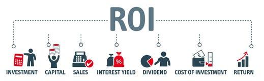 ROI retour sur l'investissement - icônes de MIT de bannière - illustrati de vektor illustration libre de droits