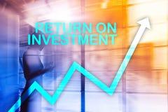 ROI - retour sur l'investissement Opérations boursières et concept financier de croissance sur le fond brouillé de centre d'affai illustration de vecteur