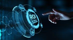 ROI Return auf Investitions-Finanzgewinn-Erfolgs-Internet-Geschäfts-Technologie-Konzept lizenzfreies stockbild