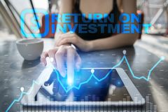 ROI, Return on investment business and technology concept. Virtual screen background Royalty Free Stock Image