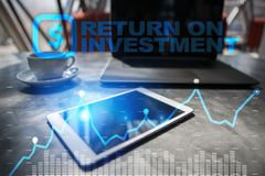 ROI, Return on investment business and technology concept. Virtual screen background. ROI, Return on investment business and technology concept. Virtual screen Stock Image