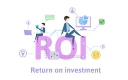 ROI, Return On Investment. Concept table with keywords, letters and icons. Colored flat vector illustration on white. ROI, Return On Investment. Concept with Stock Photos