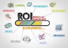 ROI Return on Investment Concept. Chart with keywords and icons on gray background Stock Photography