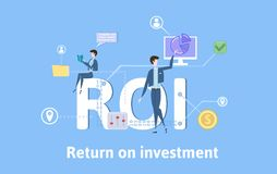 ROI, Return On Investment. Concept table with keywords, letters and icons. Colored flat vector illustration on blue. ROI, Return On Investment. Concept with Royalty Free Stock Image