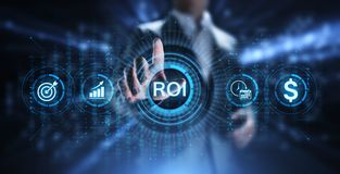 ROI Return on investment financial growth concept with graph, chart and icons. stock photography