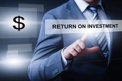 ROI Return no conceito da tecnologia do negócio do Internet do sucesso do lucro da finança do investimento imagens de stock royalty free