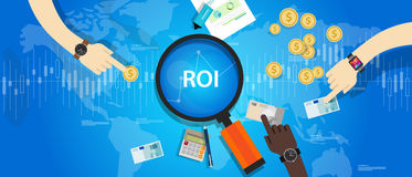 ROI Return på av investeringen stock illustrationer