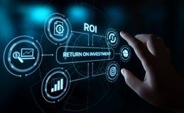 ROI Return på begrepp för teknologi för affär för internet för framgång för investeringfinansvinst royaltyfri bild