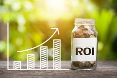 ROI Return på investeringord med myntet i den Glass kruset och grafen arkivfoton