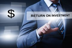 ROI Return sul concetto di tecnologia di affari di Internet di successo di profitto di finanza di investimento immagini stock libere da diritti