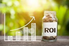 ROI Return sulla parola di investimento con la moneta in barattolo e nel grafico di vetro fotografie stock