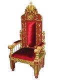 Roi royal rouge et présidence d'or de trône d'isolement images stock