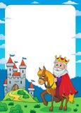 Roi sur le cadre 1 de thème de cheval illustration de vecteur