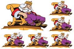 Roi sur le trône dans différentes poses Illustration courante Photographie stock