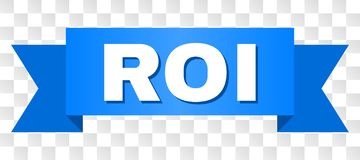 Blue Tape with ROI Text. ROI text on a ribbon. Designed with white title and blue stripe. Vector banner with ROI tag on a transparent background stock illustration
