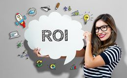 ROI text with woman holding a speech bubble. ROI text with young woman holding a speech bubble Stock Image