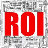 ROI word cloud. Concept on white background, 3d rendering Stock Photos