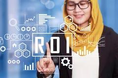 ROI wskaźnik rentowności w Biznesowym pojęciu fotografia stock