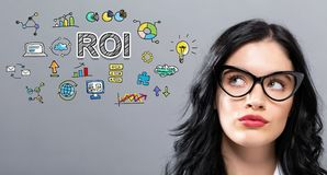 ROI with young businesswoman. In a thoughtful face royalty free stock images