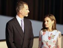 Rois de l'Espagne à l'ouverture de palais du congrès dans la verticale de Majorque Photos libres de droits