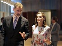 Rois de l'Espagne parlant à l'ouverture de palais du congrès en Majorque Photo libre de droits