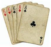 rois de pleine maison de cartes d'as vieux Image stock