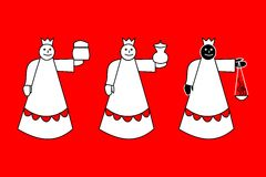 Rois mages bibliques - trois rois sur le fond rouge illustration libre de droits