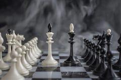 Rois noirs et blancs des échecs installés sur le fond foncé photo stock