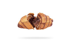 Roissants with chocolate filling on a white background. Croissant with chocolate filling on a white background Royalty Free Stock Photo