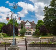 Roissy-en-France pitoresk town hall and square royalty free stock photos