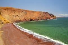 Roja strand i Paracas den nationella reserven, Peru arkivbilder