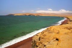 Roja strand i Paracas den nationella reserven, Peru royaltyfria bilder