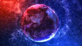 Rojo al lazo de giro del globo 4K de la partícula azul libre illustration