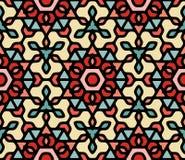 Rojo azul colorido inconsútil Mandala Pattern hexagonal oriental floral redondeada blanco del vector Fotos de archivo