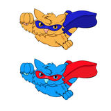 Rojo azul del gato estupendo stock de ilustración