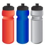 Rojo, azul y gris se divierte la botella de agua Fotos de archivo
