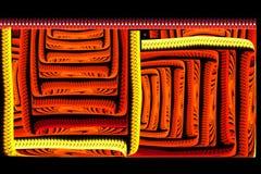 Rojo brillante del fractal cuadrado abstracto en negro Imagen de archivo