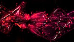 Rojo brillante futurista del extracto y ondas de cristal fundidas y ondulación rosadas libre illustration