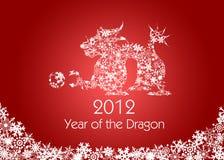 Rojo chino del modelo de los copos de nieve del dragón del Año Nuevo