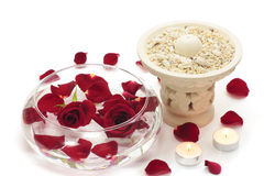 Rojo color de rosa y aromatherapy Imagen de archivo libre de regalías
