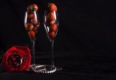 Rojo color de rosa y fresas Imagen de archivo libre de regalías